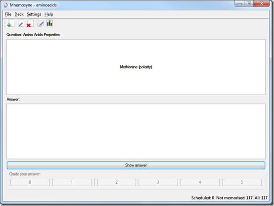 Окно портабельной программы Mnemosyne Portable