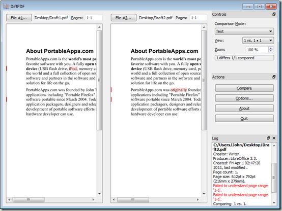 Скриншот портабельной программы Diffpdf Portable