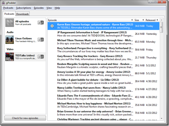 Скриншот подкаст-программы gPodder Portable