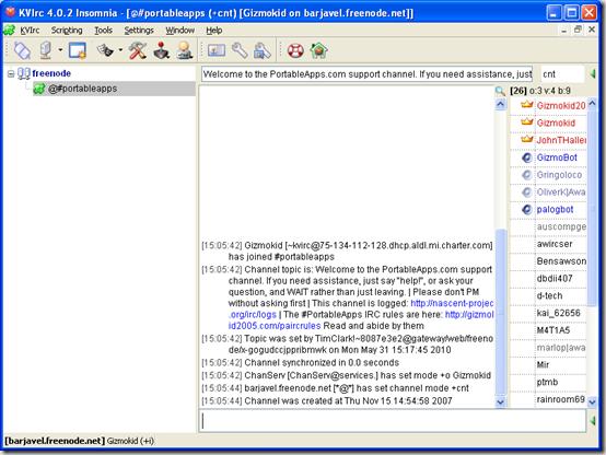Скриншот портабельного IRC-клиента KVIrc Portable