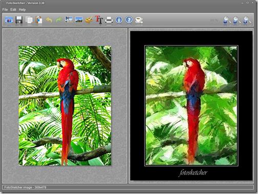 Скриншот мастера фотоэффектов FotoSketcher Portable
