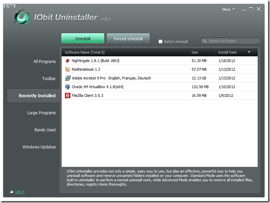 Окно программы IObit Uninstaller Portable