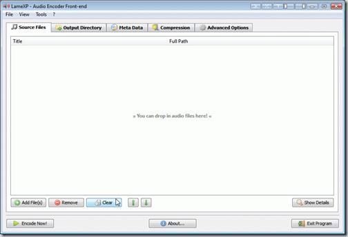 Скриншот программы конвертации аудиофайлов LameXP