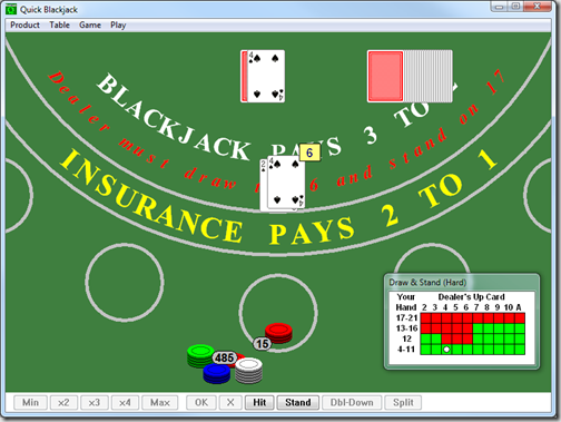 Скриншот компьютерного покера Quick Blackjack