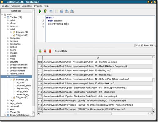 Скриншот утилиты работы с базами данных Sqliteman Portable